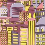 Städtische moderne Landschaft Hand gezeichnete bunte Linie Skizze Abbildung Lizenzfreies Stockfoto