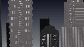Städtische Nachtlandschaft in den grauen Tönen mit Wolkenkratzer stock footage