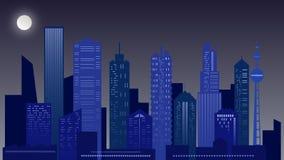 Städtische Nachtlandschaft Wolkenkratzer in den blauen Farben lizenzfreie stockfotos