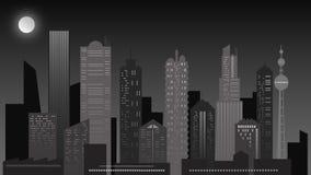 Städtische Nachtlandschaft Wolkenkratzer in den grauen Farben lizenzfreies stockfoto