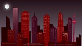 Städtische Nachtlandschaft Wolkenkratzer in den roten Farben lizenzfreie stockbilder