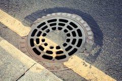 Städtische Pflasterung und Abwasserkanalkanaldeckel Lizenzfreies Stockbild