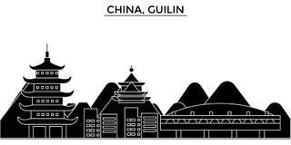 Städtische Skyline Architektur Chinas, Guilin mit Marksteinen vektor abbildung