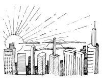 Städtische Skylinevektorillustration stock abbildung