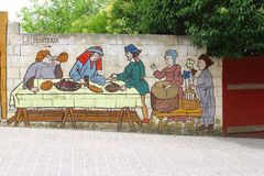 Städtische Straßenkunst in Oropesa, Olivenölseifen-La Mancha, Spanien Stockbild