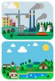Städtische und Land-Landschaften, Vector flache Illustrationen Stockfotografie