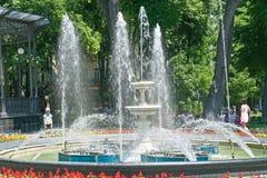 Städtischer Garten Musikalischer Brunnen Stockfoto