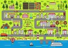 Städtischer Hintergrund der Karikatur Straßenspielmatte für Kinderunterhaltung lizenzfreie abbildung