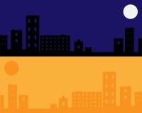 Städtischer Nacht- und Tageshintergrund - Vektor Stockfotografie