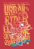 Städtischer Reiterjunge mit Skateboard lizenzfreie abbildung