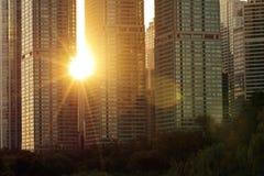 Städtischer Sonnenuntergang Lizenzfreie Stockfotos