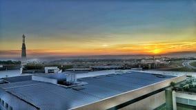 städtischer Sonnenuntergang Stockfotos