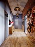 Städtischer zeitgenössischer moderner skandinavischer Dachboden Hall Interior Stockfoto
