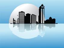 Städtisches moonset Lizenzfreies Stockbild