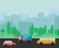 Städtisches Panorama der Stadt Flache Vektorillustration Stockbild