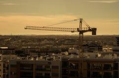 Städtisches Panorama, Sonnenaufgang stockbild