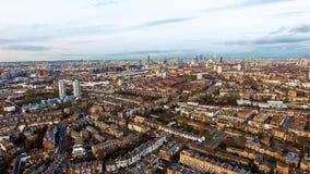 Städtisches Stadtbild Clapham Londons und Battersea-Vogelperspektive Lizenzfreie Stockfotos