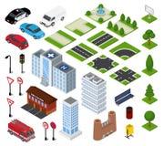 Städtisches Stadtbild des isometrischen Vektors der Stadt mit Gebäudearchitektur oder Bau im downcity Straßen-Illustrationssatz v lizenzfreie abbildung