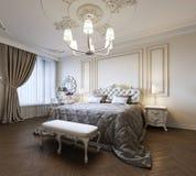 Städtisches zeitgenössisches modernes Klassiker-traditionelles Schlafzimmer-Innenarchitektur mit beige Wänden, eleganten Möbeln u vektor abbildung