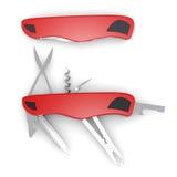 Ställ in åtskilliga knivar på en vit bakgrund framförande 3d Royaltyfri Bild