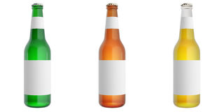 Ställ in ölflaskor med den tomma etiketten Royaltyfri Bild