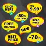 Ställ in affärsprislappetiketter på crumplrbakgrund stock illustrationer