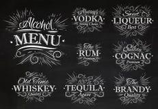 Ställ in alkoholmenykrita Arkivfoto