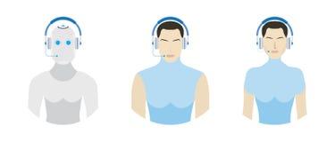 Ställ in användare med headphonen för appellmitt Illustration EPS 10 för vektor för kundtjänstlägenhet Arkivbild