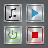Ställ in app-symboler, metallisk colle för knappar för massmediaspelare Royaltyfria Foton