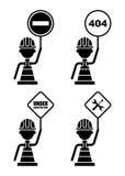 ställ in att varna för tecken Arkivfoton