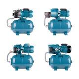 Ställ in automatiska vattenförsörjningstationer, isolerad vit bakgrund Järnpumpcasing, tryckavkännare Blå färgstation arkivbild