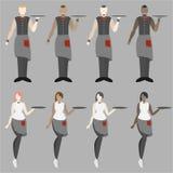 Ställ in av åtta uppassareflickor och män royaltyfri illustrationer