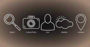 Ställ in av översiktssymboler: sökande kamera/foto, användare, väder, läge royaltyfri illustrationer