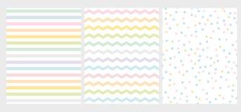 Ställ in av abstrakt flerfärgad geometrisk modell för vektor 3 Regnbågefärgkonst med linjer, sicksack och prickar stock illustrationer