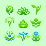 Ställ in av abstrakt hälsovård Logo Vector vektor illustrationer