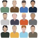 Ställ in av abstrakta män framsida full royaltyfri illustrationer