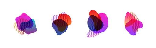 Ställ in av abstrakta moderna grafiska beståndsdelar Abstrakta baner för lutning med former för flödande flytande stock illustrationer