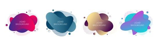 Ställ in av 4 abstrakta moderna grafiska vätskebeståndsdelar Dynamiska vågor färgade lutningvätskeformer Isolerade baner stock illustrationer