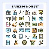 Ställ in av affär 30, bankrörelse- och finanssymbolen, ny stil i fylld NBA eller osammanhängande översiktsstil stock illustrationer