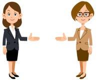 Ställ in av affärskvinnan som introducerar på båda sidor royaltyfri illustrationer
