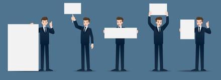 Ställ in av affärsman i 5 olika gester Folket i affärstecken poserar många handlingar royaltyfri bild
