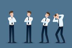 Ställ in av affärsman i 4 olika gester Folket i affärstecken poserar som att tänka, bekymmer arkivbilder