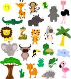 Ställ in av afrikanska gulliga och roliga djur och fåglar isolerat stock illustrationer