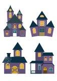 Ställ in av allhelgonaaftonhus stock illustrationer
