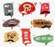 Ställ in av anförandebubblan, snöflingor, julkort Santa Claus mustasch och handskriven text Ho-ho-ho! Skissa grunge, vattenfärg royaltyfri illustrationer