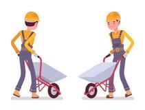 Ställ in av arbetare med skottkärror royaltyfri illustrationer