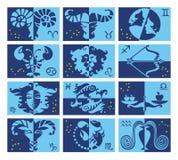 Ställ in av astrologiska stiliserade zodiaksymboler Översikterna av zodiakkonstellationerna Horoskoptecknet, blåa signaler planlä vektor illustrationer