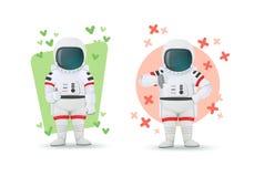 Ställ in av astronaut som gör gester av godkännande och ogillande Visande tummar en upp och andra tummar ner tecken motvilja like vektor illustrationer