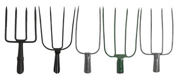 Ställ in av att arbeta i trädgården gafflar som isoleras på en vit bakgrund arkivbild