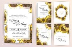 Ställ in av att gifta sig solrosen för inbjudankortblommor För inbjudandesign för bröllop A5 mall på vit bakgrund tecknad hand stock illustrationer